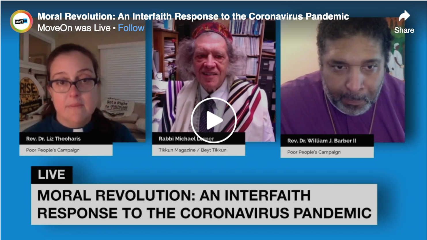 "MoveOn: ""An Interfaith Response to the Coronavirus Pandemic"""